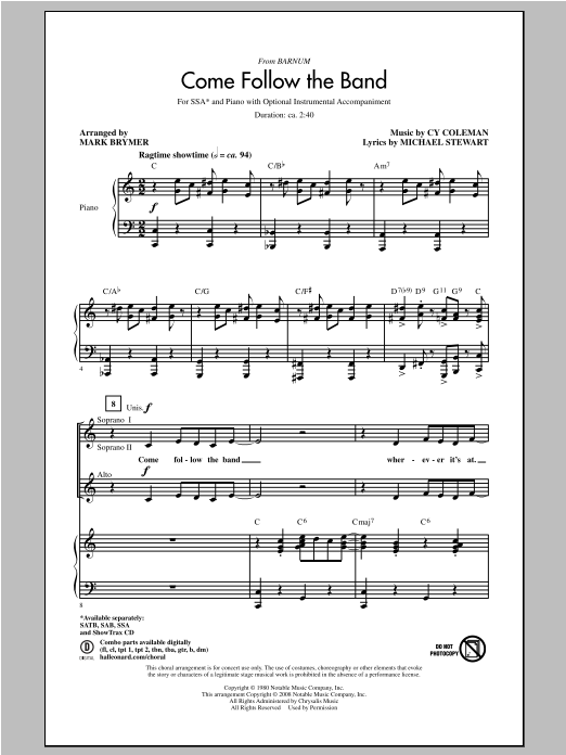 Come Follow The Band (arr. Mark Brymer) Sheet Music