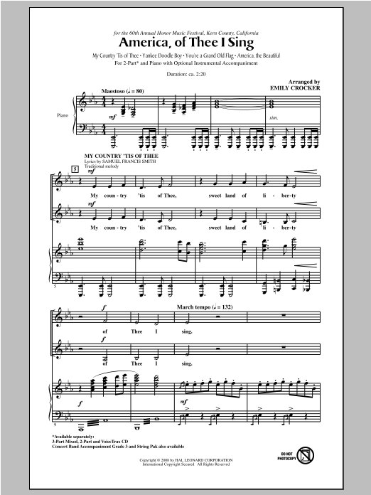 America, Of Thee I Sing - Choral Music Download
