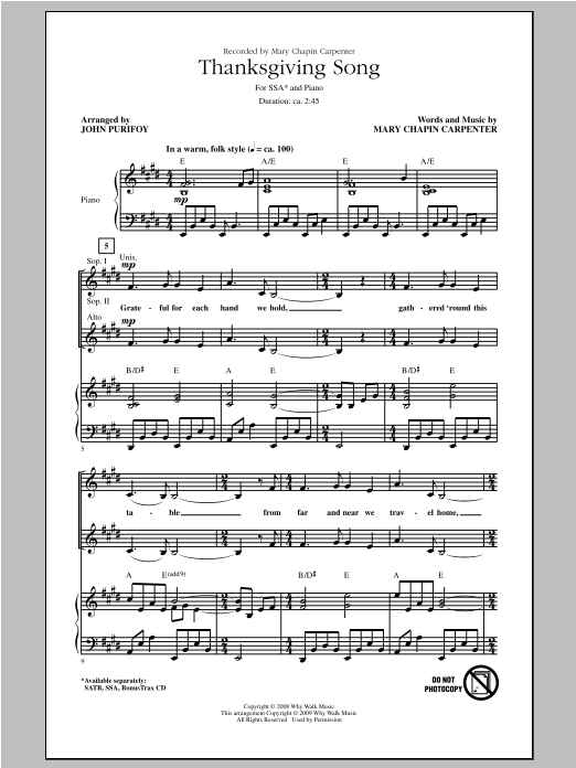 Thanksgiving Song (arr. John Purifoy) Sheet Music