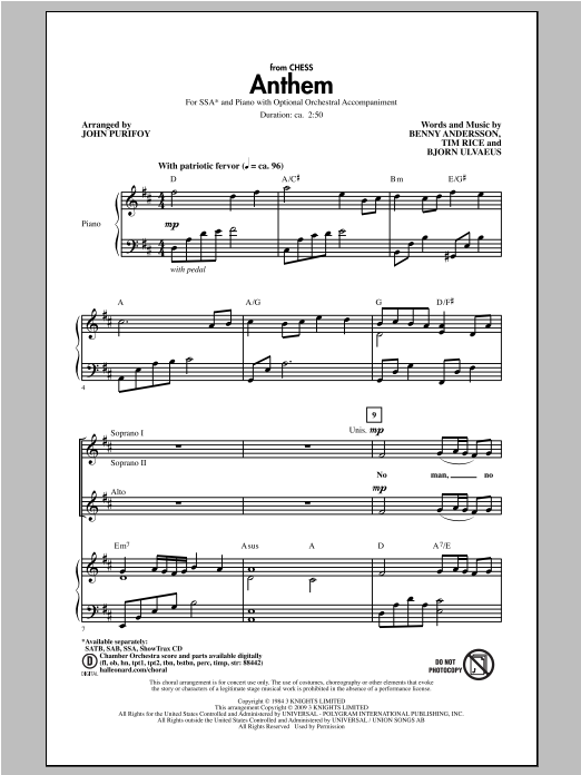 Partition chorale Anthem (from Chess) de John Purifoy - SSA
