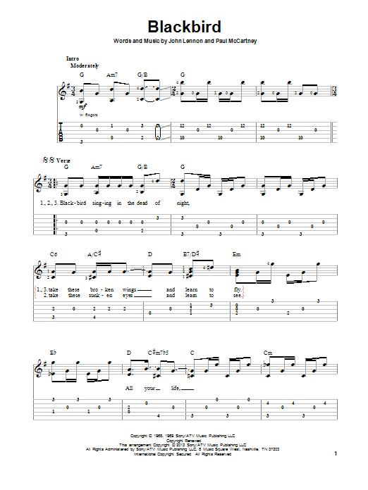 Tablature guitare Blackbird de The Beatles - Tablature Guitare