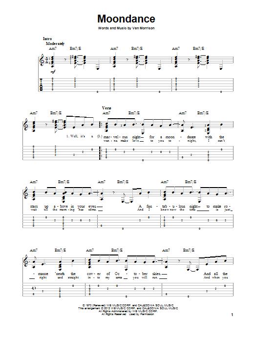Moondance by Van Morrison - Solo Guitar - Guitar Instructor