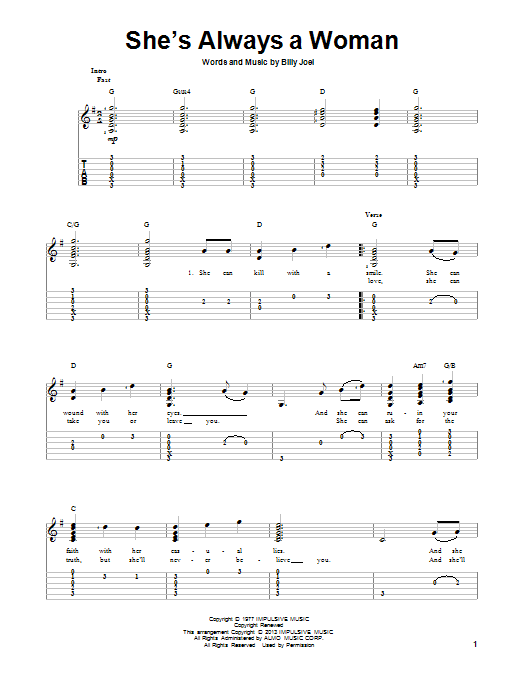 Tablature guitare She's Always A Woman de Billy Joel - Tablature Guitare