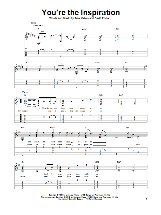 Tablature guitare You're The Inspiration de Chicago - Tablature Guitare