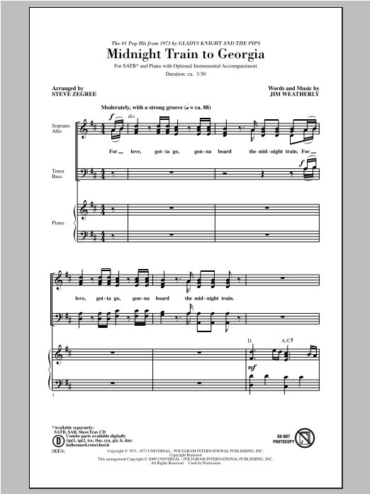 Partition chorale Midnight Train To Georgia de Steve Zegree - SATB