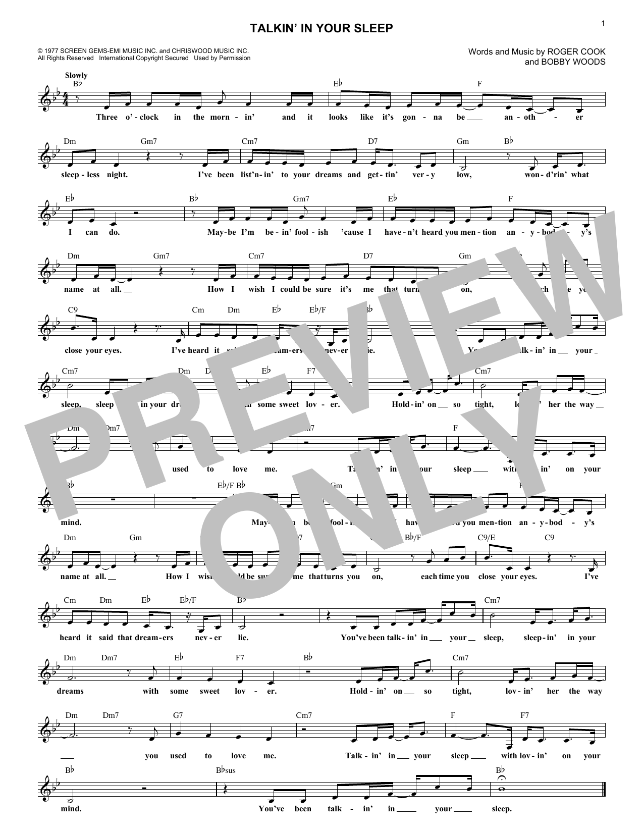 Talkin' In Your Sleep (Lead Sheet / Fake Book)