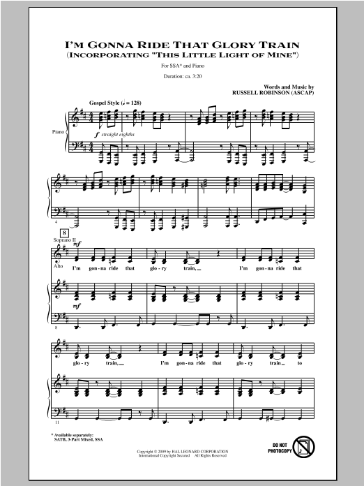 I'm Gonna Ride That Glory Train Sheet Music