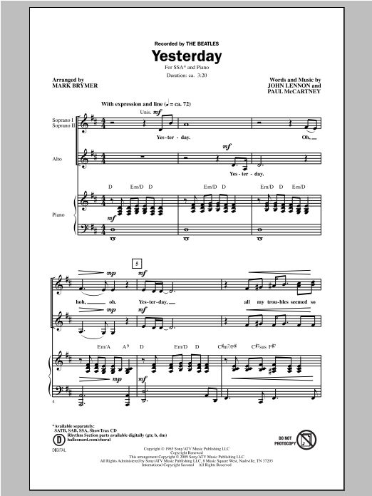 Yesterday (arr. Mark Brymer) Sheet Music
