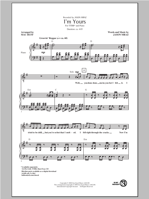 I'm Yours (arr. Mac Huff) Sheet Music