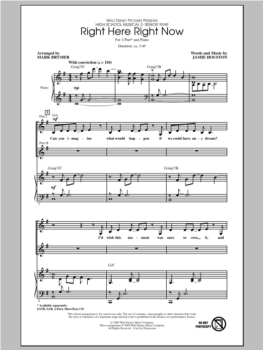 Right Here Right Now (from High School Musical 3) (arr. Mark Brymer) Sheet Music
