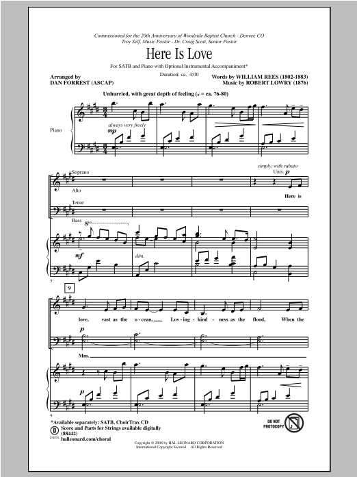 Here Is Love (arr. Dan Forrest) Sheet Music