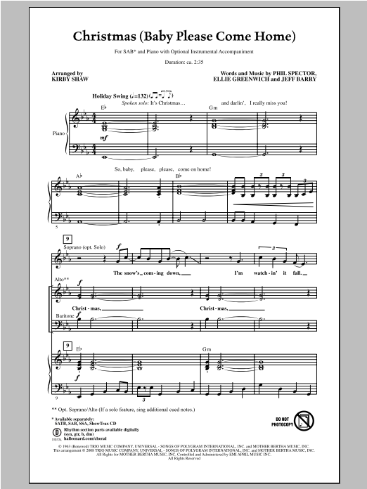 Christmas (Baby Please Come Home) (arr. Kirby Shaw) Sheet Music