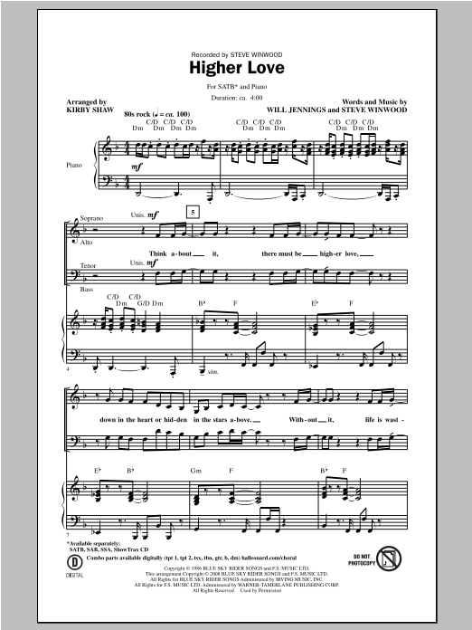 Partition chorale Higher Love de Steve Winwood - SATB