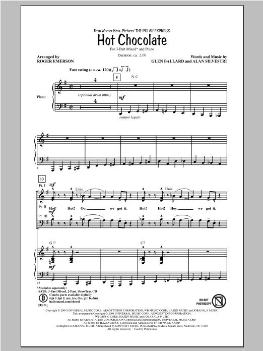 Partition chorale Hot Chocolate de Roger Emerson - 3 voix mixtes