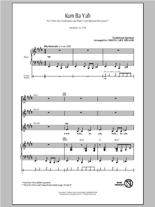 Partition chorale Kum Ba Yah de Cristi Cary Miller - 3 voix mixtes