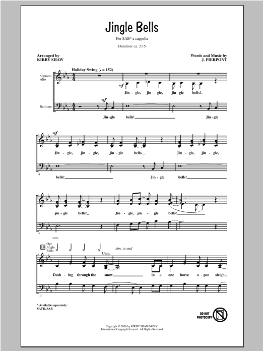 Jingle Bells (arr. Kirby Shaw) Sheet Music