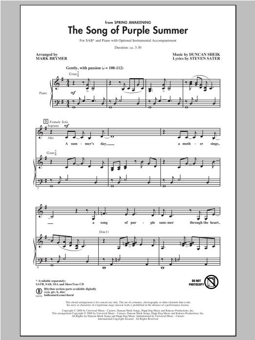 The Song Of Purple Summer (SAB Choir)