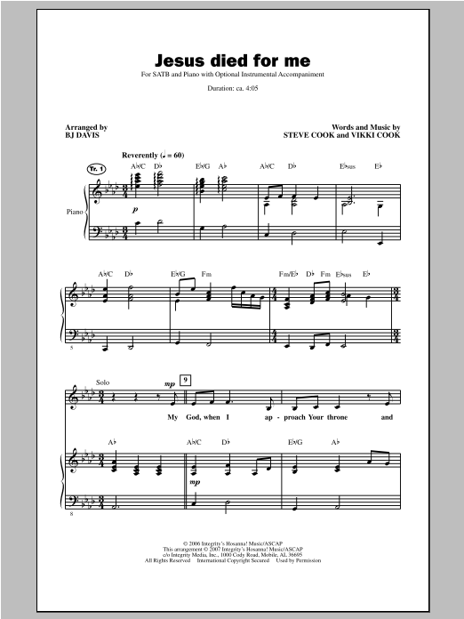 Jesus Died For Me Sheet Music