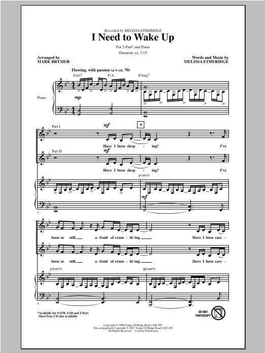 I Need To Wake Up (arr. Mark Brymer) Sheet Music