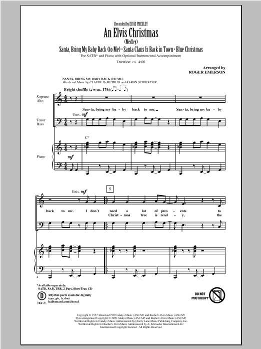 An Elvis Christmas (arr. Roger Emerson) (SATB Choir)