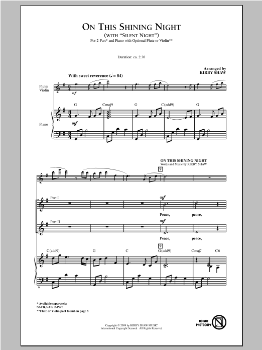 On This Shining Night (with Silent Night) Sheet Music