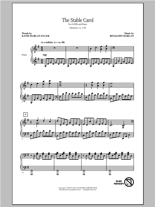 Partition chorale The Stable Carol de Benjamin Harlan - SATB
