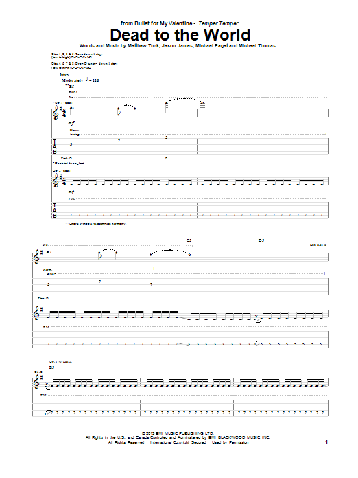 Tablature guitare Dead To The World de Bullet For My Valentine - Tablature Guitare