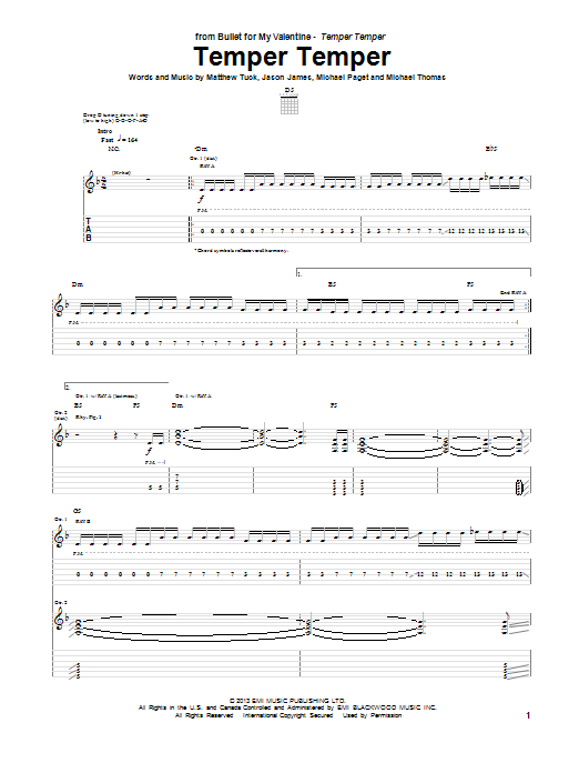 Tablature guitare Temper Temper de Bullet For My Valentine - Tablature Guitare