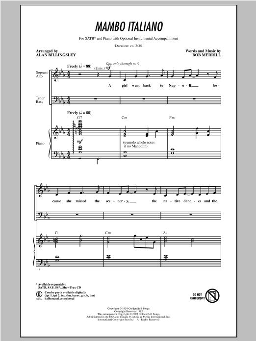 Mambo Italiano (arr. Alan Billingsley) (SATB Choir)