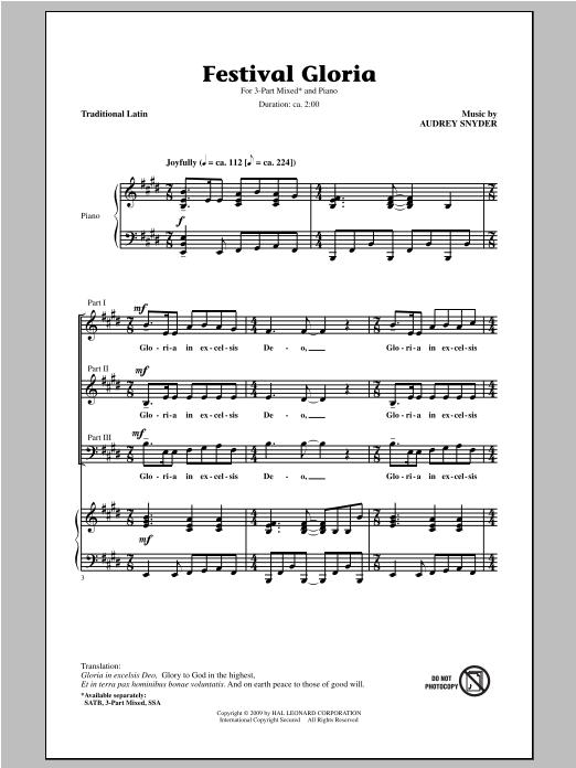 Partition chorale Festival Gloria de Audrey Snyder - 3 voix mixtes