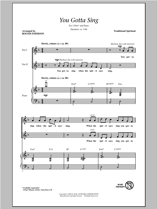 You Gotta Sing (arr. Roger Emerson) Sheet Music