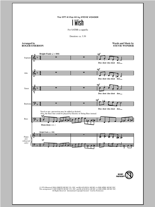 Partition chorale I Wish de Stevie Wonder - SATB