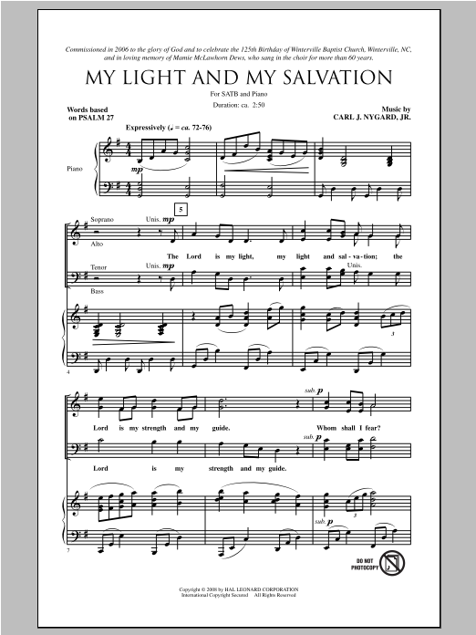 Partition chorale My Light And My Salvation de Carl Nygard, Jr. - SATB