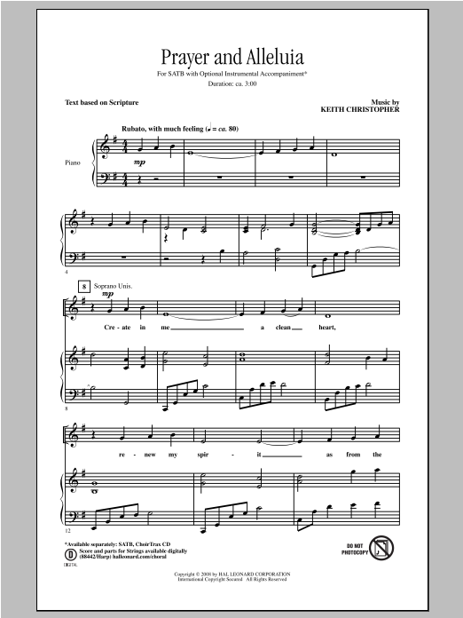Prayer And Alleluia Sheet Music