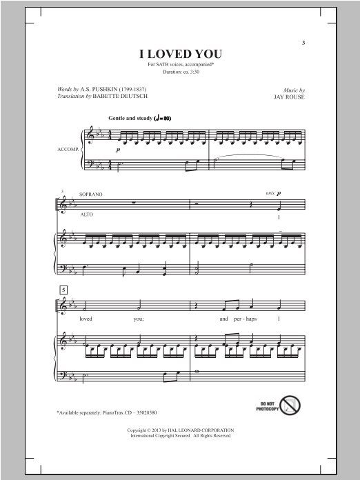 Partition chorale I Loved You de Jay Rouse - SATB