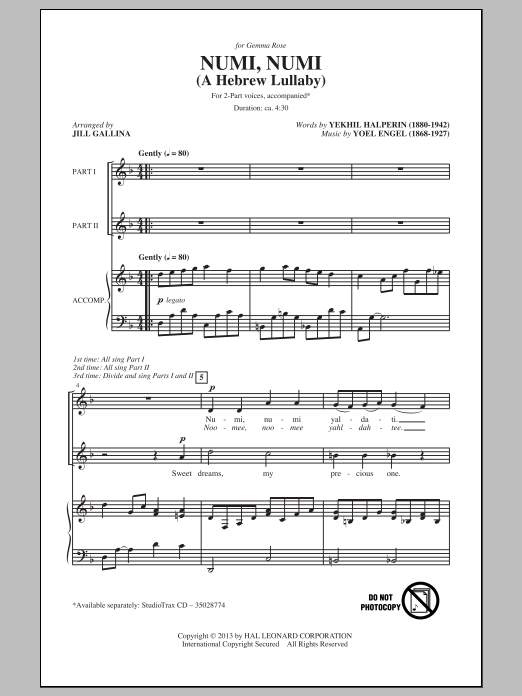 Numi, Numi (arr. Jill Gallina) Sheet Music