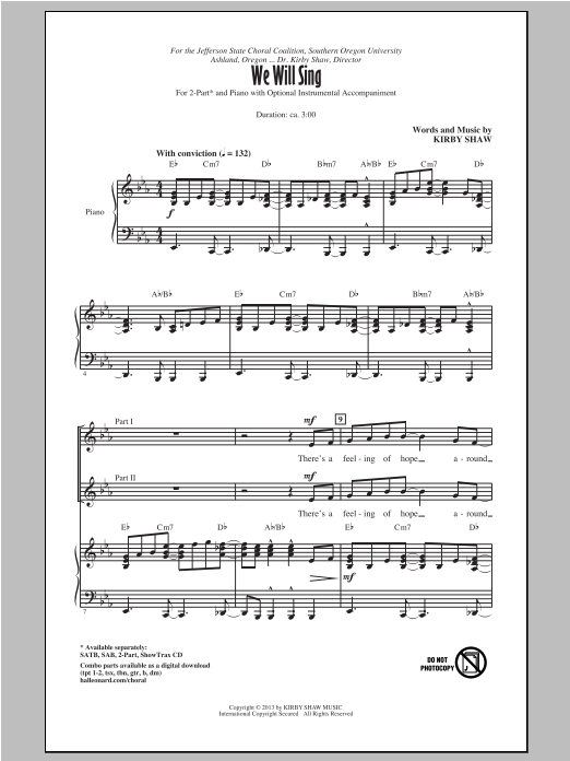 We Will Sing Sheet Music