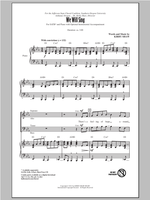 We Will Sing (SATB Choir)