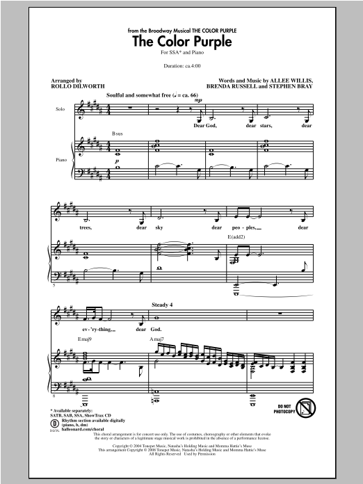 The Color Purple (arr. Rollo Dilworth) Sheet Music