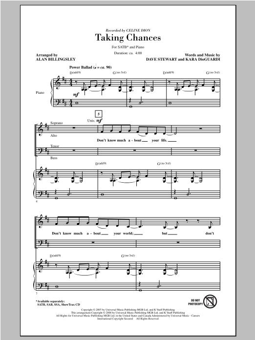 Partition chorale Taking Chances de Celine Dion - SATB