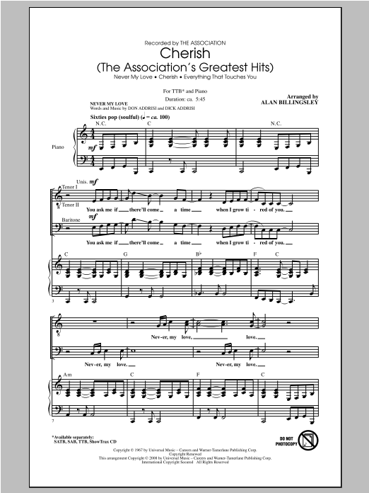 Cherish (The Association's Greatest Hits) (arr. Alan Billingsley) (TTBB Choir)