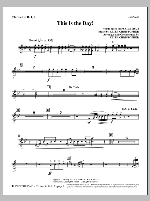 This Is the Day! - Bb Clarinet 1 & 2 Sheet Music