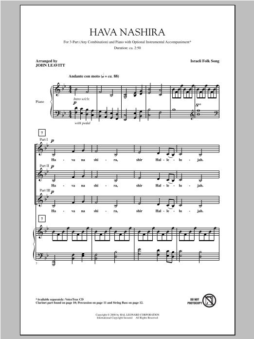 Partition chorale Hava Nashira de John Leavitt - 3 voix mixtes