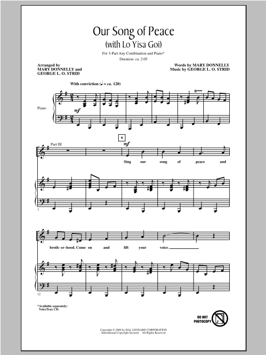 Our Song of Peace (with Lo Yisa Goi) Sheet Music