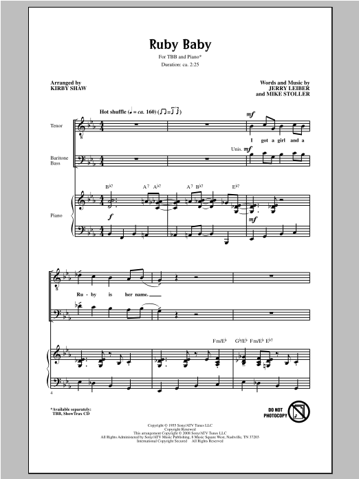 Ruby Baby (arr. Kirby Shaw) Sheet Music