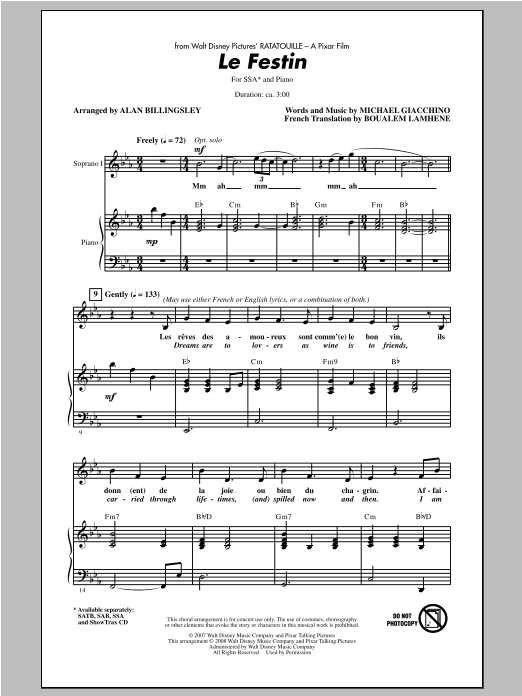 Le Festin From Ratatouille Sheet Music Direct