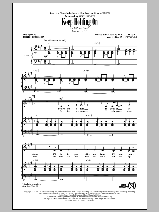 Keep Holding On (arr. Roger Emerson) Sheet Music