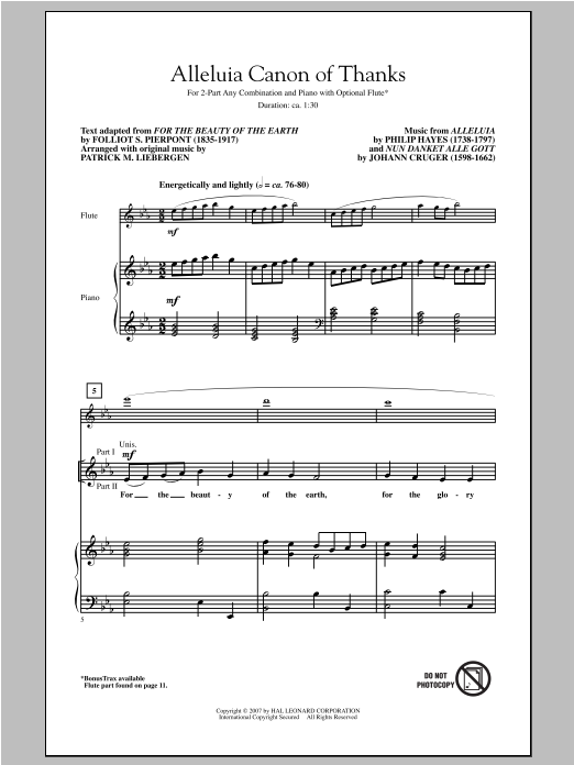 Alleluia Canon Of Thanks Sheet Music