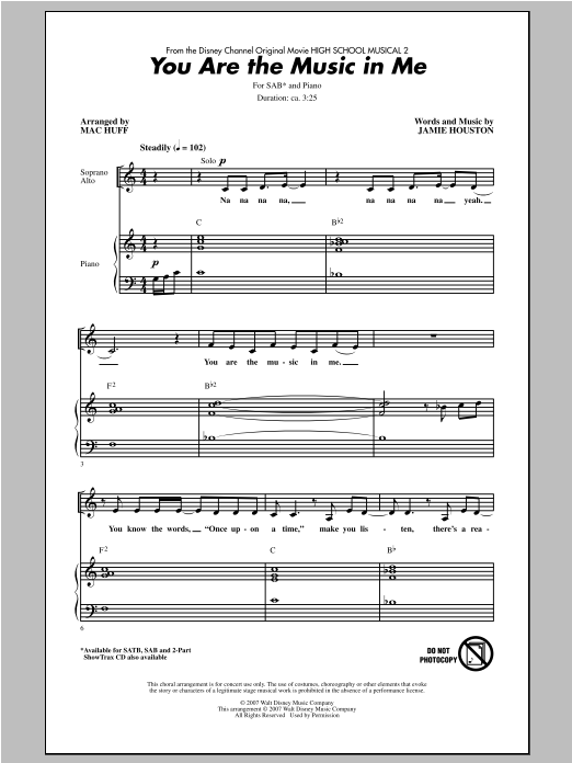 You Are The Music In Me (from High School Musical 2) (arr. Mac Huff) Sheet Music