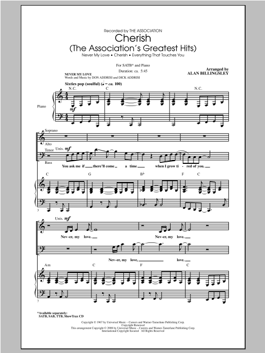 Cherish (The Association's Greatest Hits) (arr. Alan Billingsley) Sheet Music